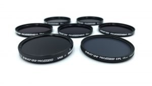 The full set of Beastgrip Pro Series ND filters, comprising the ND4, ND8, ND16, ND32, ND64, VND and CPL.