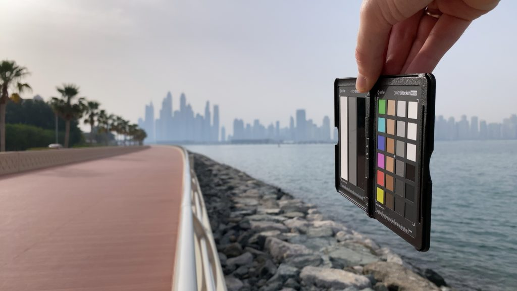 A video frame of the X-Rite ColorChecker chart outdoors under daylight captured with the Beastgrip Pro Series ND16 filter.