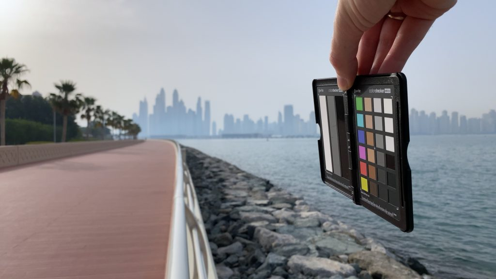 A video frame of the X-Rite ColorChecker chart outdoors under daylight captured with the Beastgrip Pro Series ND32 filter.