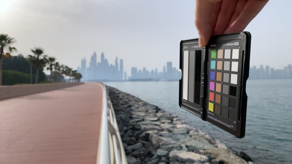 A video frame of the X-Rite ColorChecker chart outdoors under daylight captured with the Beastgrip Pro Series ND4 filter.