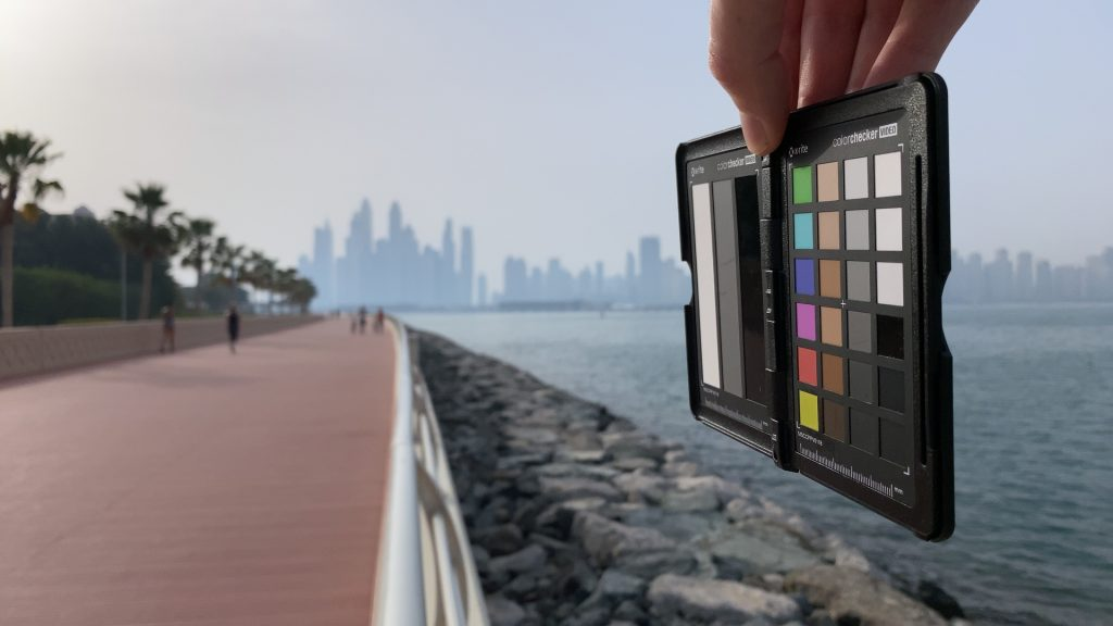 A video frame of the X-Rite ColorChecker chart outdoors under daylight captured with the Beastgrip Pro Series ND64 filter.