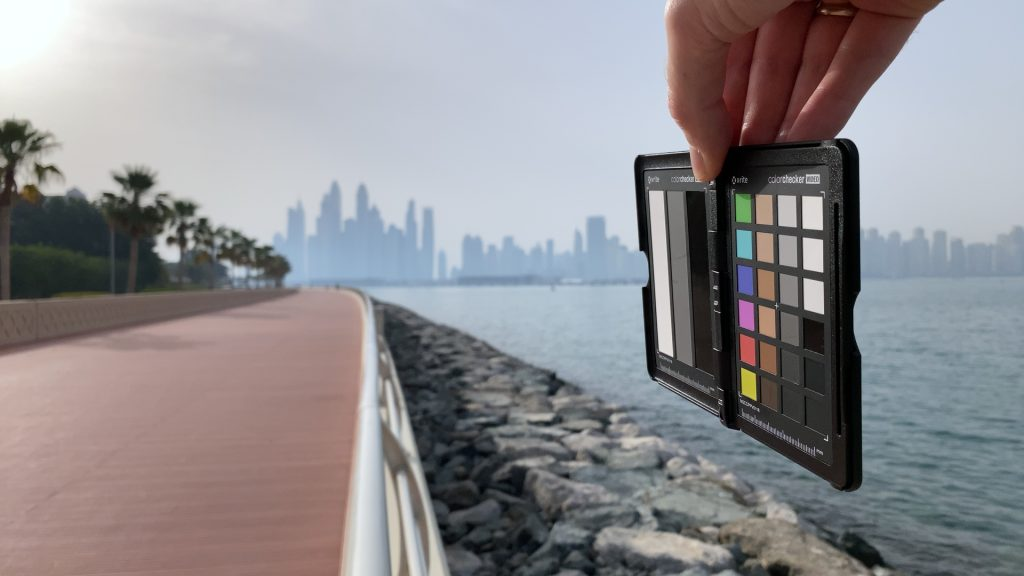 A video frame of the X-Rite ColorChecker chart outdoors under daylight captured with the Beastgrip Pro Series ND8 filter.