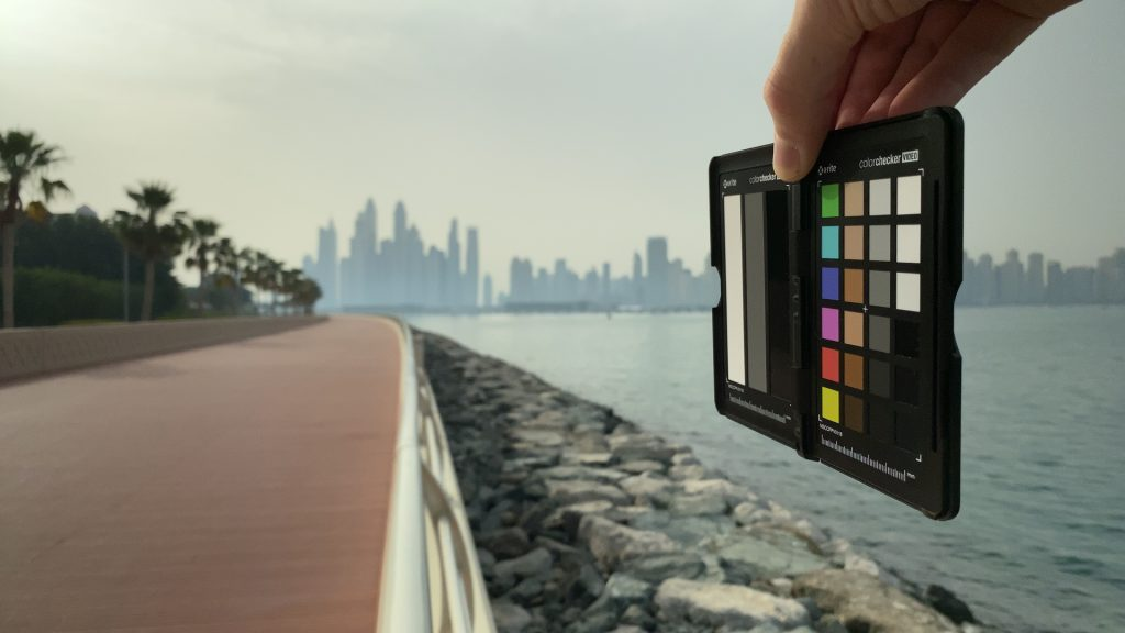 A video frame of the X-Rite ColorChecker chart outdoors under daylight captured with the Beastgrip Pro Series VND filter at step 10 of 13.