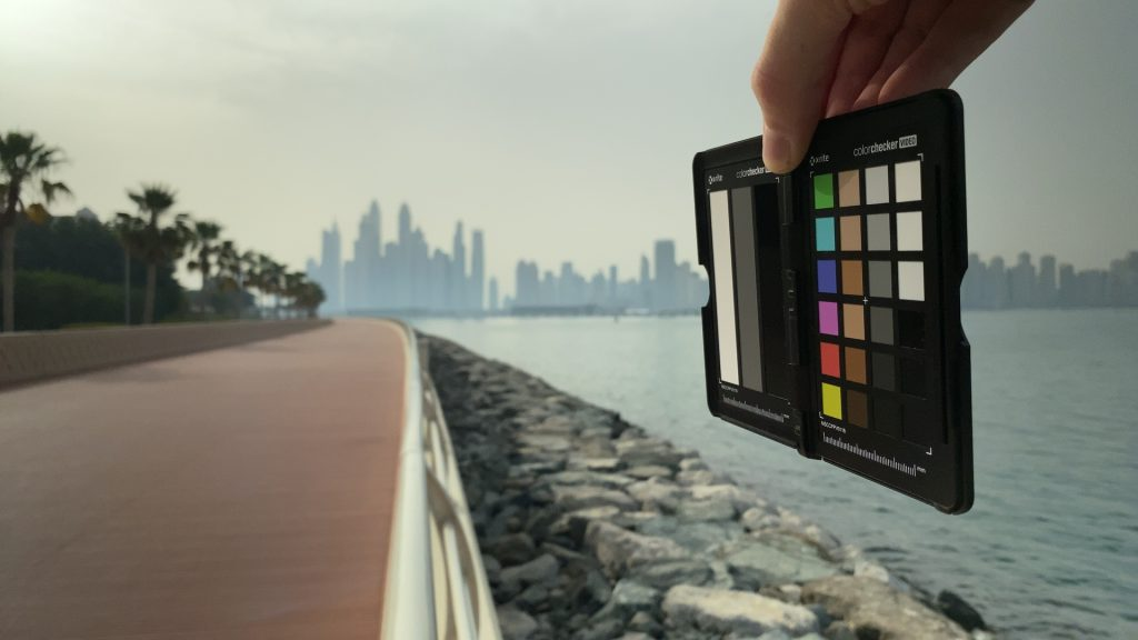 A video frame of the X-Rite ColorChecker chart outdoors under daylight captured with the Beastgrip Pro Series VND filter at step 11 of 13.