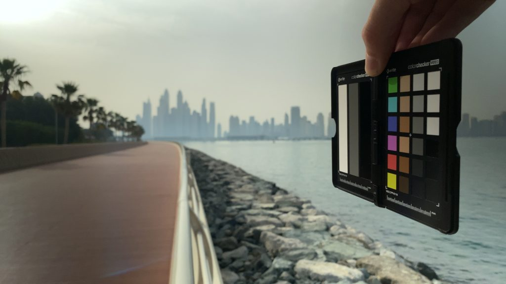 A video frame of the X-Rite ColorChecker chart outdoors under daylight captured with the Beastgrip Pro Series VND filter at step 12 of 13.