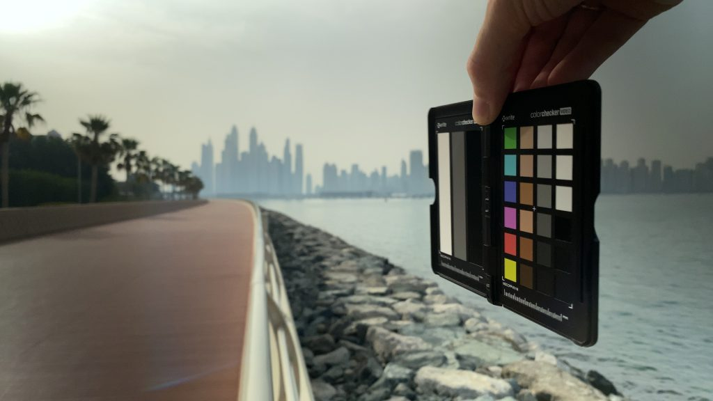 A video frame of the X-Rite ColorChecker chart outdoors under daylight captured with the Beastgrip Pro Series VND filter at step 13 of 13.