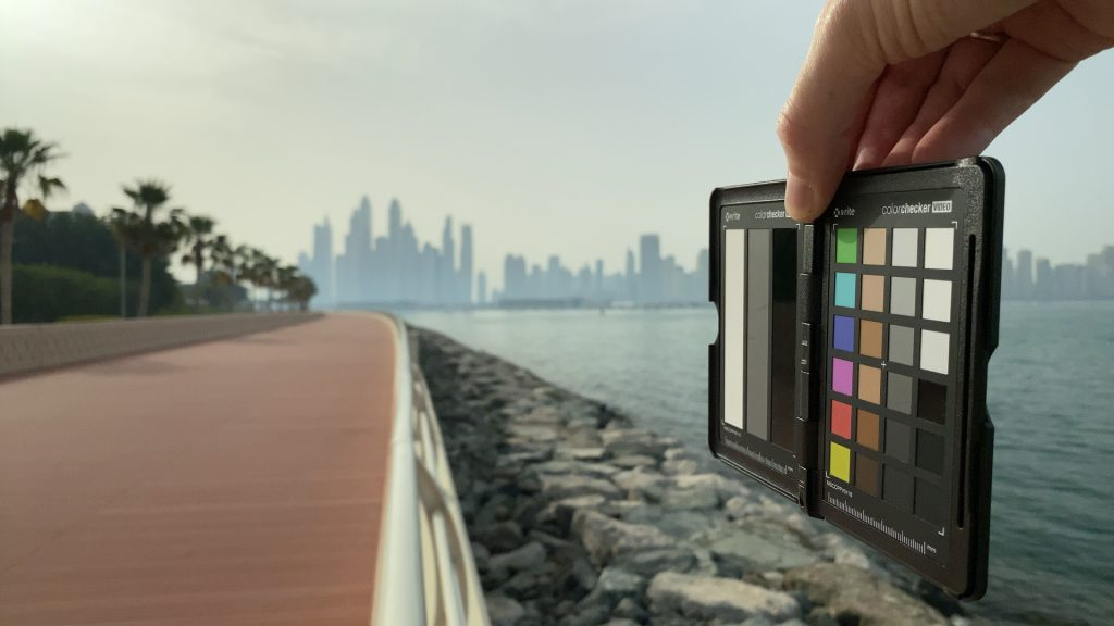 A video frame of the X-Rite ColorChecker chart outdoors under daylight captured with the Beastgrip Pro Series VND filter at step 3 of 13.