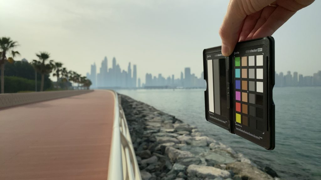 A video frame of the X-Rite ColorChecker chart outdoors under daylight captured with the Beastgrip Pro Series VND filter at step 7 of 13.
