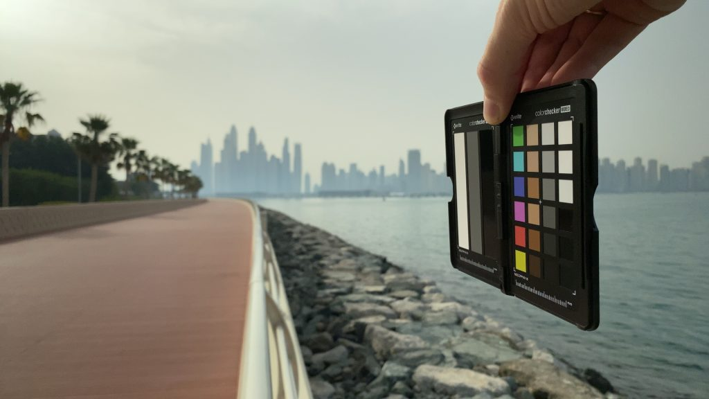 A video frame of the X-Rite ColorChecker chart outdoors under daylight captured with the Beastgrip Pro Series VND filter at step 9 of 13.