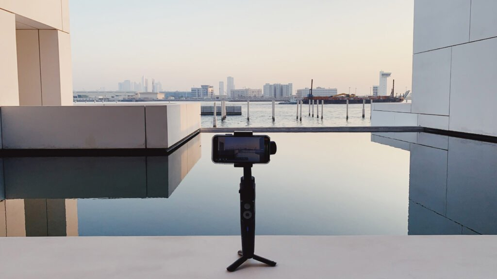 The Moza Mini S set up on a ledge outside the Louvre Abu Dhabi.