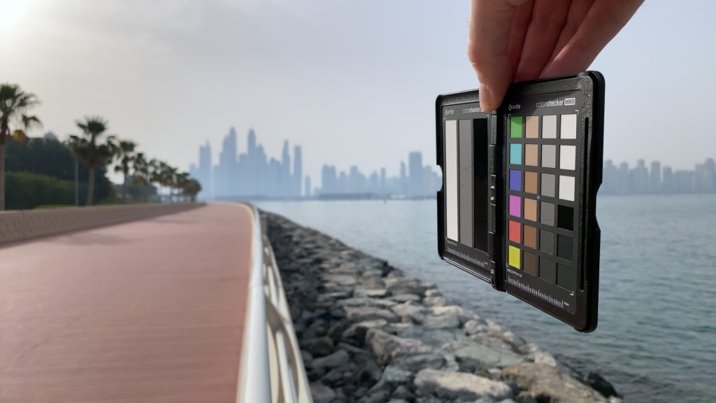 A video frame of the X-Rite ColorChecker chart outdoors under daylight captured with no ND filter.